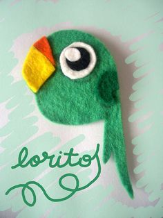 Felt birdie - would love to make this in 3d with embellishments on the tail feathers