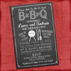 Printable Baby Q Shower Invitation - Barbecue baby shower - Coed Baby Shower Invite by PuzzlePrints on Etsy https://www.etsy.com/listing/181555940/printable-baby-q-shower-invitation