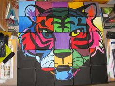 School Mascot Class Mural on twenty-five -6x6 inch canvas ~Smith Middle School, Miss Murphy