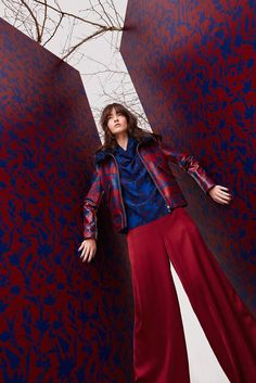 Tanya Taylor Fall 2016 RTW • red & blue mixed prints