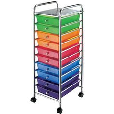 Mainstays 10-Drawer Trolley Cart is great for storing school supplies. Great for organizing light things, like math tools, scissors, glue, workbooks, etc.
