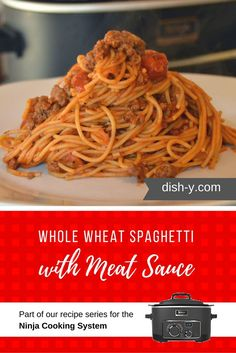 This recipe is similar to the Ninja Cooking System recipe for spaghetti & meatballs, but instead we've used whole wheat spaghetti with meat sauce.
