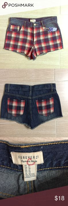 F21 Plaid Denim Shorts Denim shorts with plaid panelling on the front and back pockets. New with tags, never worn. Waist size 27. Forever 21 Shorts Jean Shorts