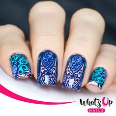 This stamping plate is breathtaking with Hand of Hamsa, paisley and floral designs to stamp your next manicure with. Orange Nail Designs, Simple Nail Art Designs, Short Nail Designs, Fall Nail Designs, Beautiful Nail Designs, Cute Nail Designs, Easy Nail Art, Beautiful Nail Art, Floral Designs