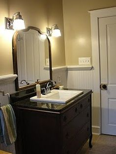 Beautiful Repurposed Dresser For Bathroom Vanity. Like The Square Sink U0026  Bead Board.