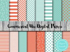 Nautical Digital Papers Ahoy Mint and Coral by MagicalStudio