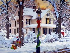 John Sloane--Winter Tranquility I had this on Christmas cards one year. Christmas Scenes, Vintage Christmas Cards, Christmas Cross, Country Christmas, Christmas Pictures, Winter Christmas, All Things Christmas, Merry Christmas, Home For Christmas