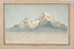 August Heinrich. The Watzmann seen from the North-East, and Some Sketches of a Mountain; verso: Sketch of the Church of Sankt Bartholomä at the Königsee at the foot of the Watzmann Seen from the East. 1820-22