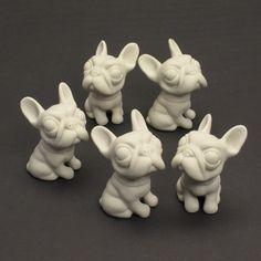 3 Unpainted Mini Figurine French Bulldog DIY Handmade Crafts