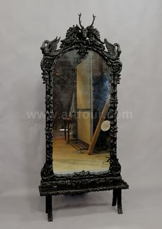 black forest carved cheval mirror with stag head