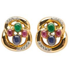 David Webb Emerald Ruby Sapphire Diamond Gold Earrings | From a unique collection of vintage clip-on earrings at https://www.1stdibs.com/jewelry/earrings/clip-on-earrings/
