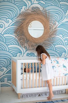 Looking for a bohemian and beachy wallpaper? This is the perfect wallpaper for a beach themed gender neutral nursery. Beach Baby Nurseries, Beach Theme Nursery, Surf Nursery, Coastal Nursery, Tropical Nursery, Boho Nursery, Nursery Neutral, Nursery Room, Nursery Decor