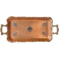 A Continental Secessionist Art Nouveau Two Handled Copper Tray, 1910-1920. - A Continental Secessionist Art Nouveau Two Handled Copper Tray, 1910-1920.
