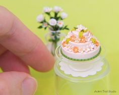 Items similar to Miniature Cake. Dollhouse miniature food art in scale. OOAK Handmade by Rumi Lazzi Miniature Food, Miniature Dolls, Barbie Food, Barbie Stuff, Dolls House Shop, All The Small Things, Tiny Food, Biscuit, Barbie And Ken
