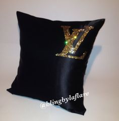 Louis Vuitton inspired black satin decorative handmade pillow couch/bed throw with crystals via Etsy