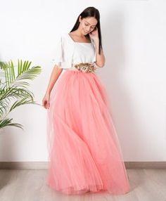 Faldas de tul y prendas de fiesta confeccionadas a mano en Galicia - Aluèt.  Falda Carrie Coral Larga 777ad917c8f9