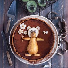 "Bavarois ""Ourson"" poire-chocolat Edible Art, Food Art, Kids Meals, Tea Time, Mousse, Veggies, Food And Drink, Pudding, Breakfast"