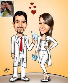 Caricaturas digitais, desenhos animados, ilustração, caricatura realista: Desenho casal de dentistas !!