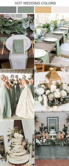 spring wedding ideas 10 Sage Green Wedding Color Palettes for 2020 Trends Gold Wedding Colors, Wedding Color Schemes, Wedding Themes, Winter Wedding Colors, Themed Weddings, Wedding Cakes, Colour Themes For Weddings, Color Palette For Wedding, Sage Color Palette