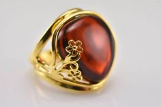 Cognac Amber Cognac Amber Ring Baltic Amber Ring by AmberSmell