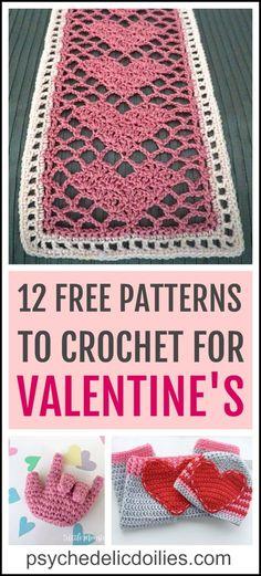 The Best Free Crochet Valentine Patterns – Psychedelic Doilies Valentine Crochet Patterns – a round up of free patterns. Crochet Puff Flower, Crochet Flower Patterns, Love Crochet, Beautiful Crochet, Crochet Designs, Crochet Yarn, Crochet Flowers, Crochet Stitches, Knitting Patterns