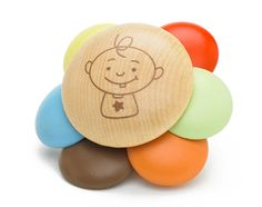 Bamboo colorful baby rattle