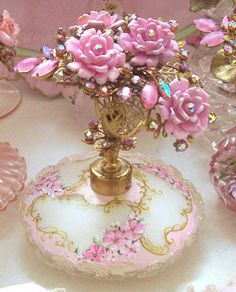 Gorgeous_French_ Romance_ Vintage_Cased_Glass_Perfume_Bottle_Flowers