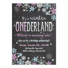 Girl's 1st Birthday Party Invitations Winter Onederland birthday party invite Girl