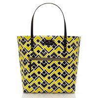 KS Flicker Fabric Bon Shopper Yellow Rp.1.700.000 SIZE  13.5''h x 12.3''w x 4.9''d drop length: 8'' MATERIAL  geometric print on lacquered natural canvas with patent trim 14-karat light gold plated hardware custom woven quick & curious lining DETAILS  shoulder bag with open top exterior zip pocket, interior slide pockets and zip pocket ksny gold embossed signature on resin license plate
