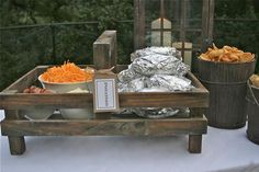Baked potato bar for your graduation party. You can also keep the potatoes warm in a roaster.