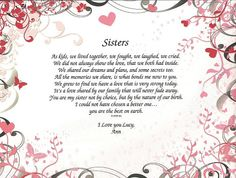 Personalized Sisters Poem Print on Pink Ornate Art by NanasPrints