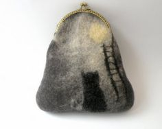 Felted Purse The cat and the moon