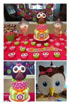 Cake and cupcakes at an Owl Party This is for you Sara Junior! Owl Parties, Owl Birthday Parties, Birthday Ideas, Ladybug Cakes, Owl Cakes, Cupcakes, Cupcake Cakes, Fruit Cakes, Cake Pops