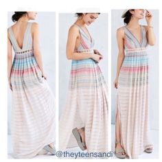 Urban Outfitters Ecote Sanibel Rainbow Maxi Dress Airy sleeveless maxi dress from Ecote in a unique mix-stitched rainbow gauze fabric we love. Cut with a v-neck front and back trimmed with lattice detailing along the empire waist. Side zip closure; fully lined.  Content + Care - Shell: 87% Rayon/13% Cotton/1 % Metallic - Lining: 100% Polyester - Lace: 100% Cotton Urban Outfitters Dresses Maxi
