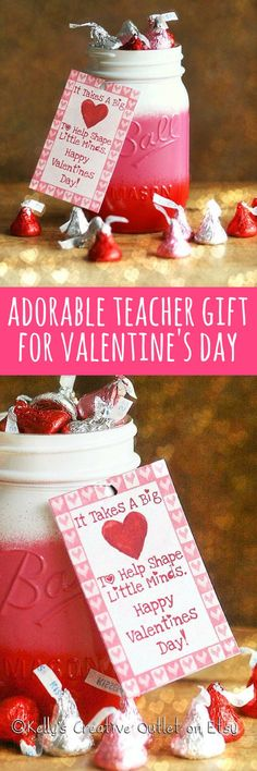 """I love this idea for a teacher Valentine!  """"It takes a big heart to help shape little minds, happy valentines day"""", and then you fill it with candy.  And after, they can use it as a pencil jar or vase!   Painted mason jar with tag, $9 #valentinesgift #teacher #teachervalentine #valentinesday #valentine #masonjar #shabbychic #pink #candygift #vase #promoted #etsy"""