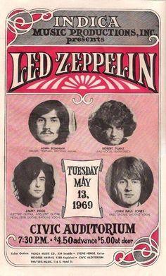 Led Zeppelin, Hawaii concert poster, 1969