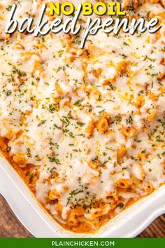 No Boil Baked Penne - SUPER easy weeknight meal. Simply mix together a few simple ingredients, pour it into a baking dish, and bake. No need to precook the pasta. It bakes along with everything else! Penne pasta, ricotta cheese, Italian sausage, spaghetti sauce, water, mozzarella, and parmesan cheese. Serve the pasta with a salad and some garlic bread for a restaurant-quality meal! #pasta #casserole #familydinner #noboilpasta