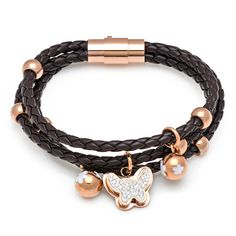 BUY leather butterfly bracelet- http://inbracelets.com/product/coffee-pu-braided-leather-cord-butterfly-bracelet-with-crystal-rosegold-buttefly-charms-stainless-steel-magnetic-clasp-for-men/
