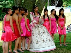 """I saw this beautiful spectacle in Forest Park, Everett, Washington. They knew it was not a wedding, but a """"Quinceanera,"""" or fifteenth birthday celebration for. Quinceanera Decorations, Washington State, Dessert Ideas, Birthday Celebration, Portal, Victorian, Celebrities, Wedding, Beautiful"""