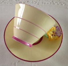 Flower Handle Royal Paragon China Tea Cup & Saucer Art Deco