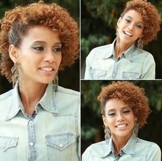 Penteado afro Short Curly Updo, Tight Curly Hair, Curly Hair Styles, Pelo Natural, Natural Hair Updo, Natural Hair Styles, My Hairstyle, Messy Hairstyles, Curly Hair Problems
