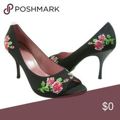 """Moschino Cheap and Chic Ricamo Embroidered Pumps Authentic Moschino Cheap and Chic 'Ricamo' high heel peep toe pumps. Gorgeous pink and red embroidered roses embellished with sequins. Gently worn a couple of times and in excellent condition! 3.5"""" stacked heels tapered to a 1/2"""" tip. Size 39. Moschino Shoes Heels"""