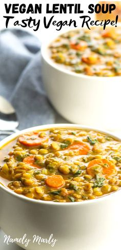 This AMAZING Vegan Lentil Soup recipe is an easy vegan recipe that you can make any day of the year. If you're after the world's best gluten-free,. Vegetarian Lentil Soup, Curried Lentil Soup, Lentil Soup Recipes, Best Soup Recipes, Vegan Soups, Vegan Dishes, Vegan Meals, Easy Vegan Dinner, Vegan Dinner Recipes