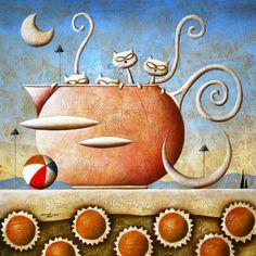 by Carlo Mirabasso - 564 x 564 3d Cartoon, Cartoon Characters, 3d Character, Character Design, Chats Image, Naive, Beautiful Paintings, Cat Art, 3 D
