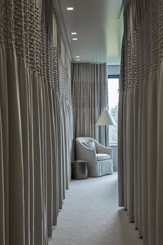 Ripplefold panels across corridor of closets