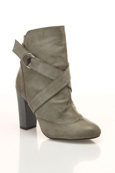 Grey Strap Ankle Boot