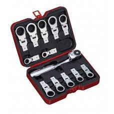 Hand Tool> Wrenches: 13 PC Ratchet & Box-end Ratchet Head Set, Metric