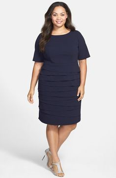Adrianna Papell Tiered Short Sleeve Sheath Dress (Plus Size) available at   Nordstrom Tiered a69617b07d87