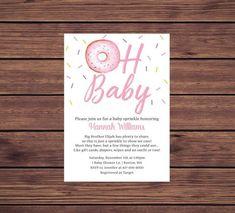 This item is unavailable Baby Sprinkle Invitations, Baby Shower Invitations, Invites, Baby Girl Sprinkle, Blue Donuts, Digital Invitations, Pink Girl, Sprinkles, Cards