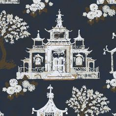 """Pagoda Birdhouse"" pattern with gold metallic. Love Chinoiserie!"